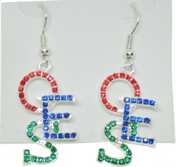 View Buying Options For The Eastern Star Crystal Overlap Letters Earrings