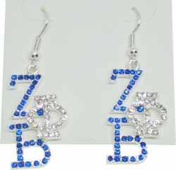 View Buying Options For The Zeta Phi Beta Crystal Overlap Letters Earrings