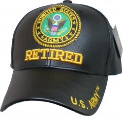 View Buying Options For The Army Retired PU Leather Mens Cap
