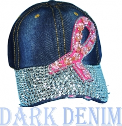 View Buying Options For The Pink Ribbon Bling Denim Rhinestone Distressed Bill Ladies Cap