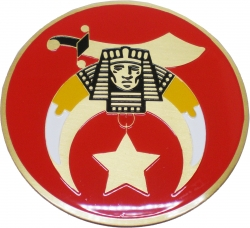 View Buying Options For The Shriner Red Etched Round Car Emblem