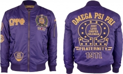 View Buying Options For The Omega Psi Phi Divine 9 Bomber Flight Mens Jacket