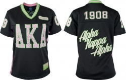 View Buying Options For The Alpha Kappa Alpha Rhinestud Divine 9 S10 Ladies Football Jersey