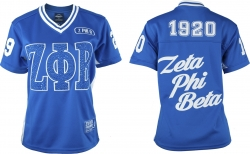 View Buying Options For The Zeta Phi Beta Rhinestud Divine 9 S10 Ladies Football Jersey