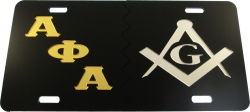 View Buying Options For The Alpha Phi Alpha + Mason Split Mirror License Plate