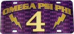 View Buying Options For The Omega Psi Phi Printed Graphic Raised Line #4 License Plate