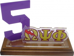 View Buying Options For The Omega Psi Phi Line #5 Desktop Piece with Wooden Base