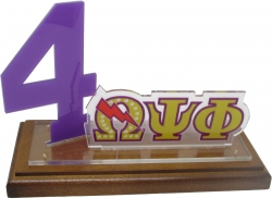 View Buying Options For The Omega Psi Phi Line #4 Desktop Piece with Wooden Base
