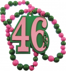View Buying Options For The Alpha Kappa Alpha Line #46 Mirror Wood Color Bead Tiki Necklace