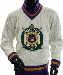 View Buying Options For The Buffalo Dallas Omega Psi Phi Escutcheon Shield Fraternity Mens V-Neck Sweater