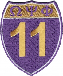 View Buying Options For The Omega Psi Phi 11 Shield Sign Iron-On Patch