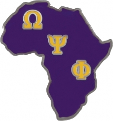 View Buying Options For The Omega Psi Phi Africa Shaped Lapel Pin