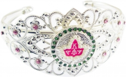 View Buying Options For The Alpha Kappa Alpha Ivy Leaf Crown Filigree Ladies Bangle Bracelet with Stones