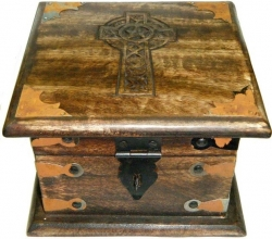View Buying Options For The Celtic Cross Carved Wood Chest-Style Box with Latch