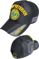 View Buying Options For The Army Veteran Arch Text Shadow Jersey Mesh Mens Cap