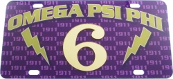 View Buying Options For The Omega Psi Phi Printed Graphic Raised Line #6 License Plate