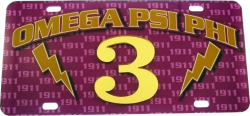 View Buying Options For The Omega Psi Phi Printed Graphic Raised Line #3 License Plate