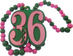 View Buying Options For The Alpha Kappa Alpha Line #36 Mirror Wood Color Bead Tiki Necklace