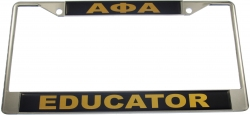 View Buying Options For The Alpha Phi Alpha Educator Domed License Plate Frame