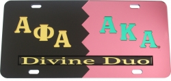 View Buying Options For The Alpha Phi Alpha + Alpha Kappa Alpha Divine Duo Split License Plate