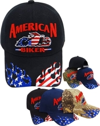 View Buying Options For The American Biker US Flag Flame On Bill Mens Cap