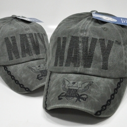 View Buying Options For The Navy Big Text Eagle Logo and Chain On Bill Mens Cap