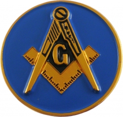 View Buying Options For The Mason Blue House Symbol Classic Round Car Emblem