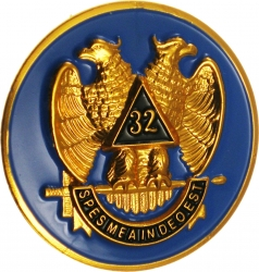 View Buying Options For The Scottish Rite 32nd Degree Wings Down Round Car Emblem