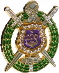 View Buying Options For The Omega Psi Phi Crystal Escutcheon Shield Lapel Pin
