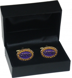 View Buying Options For The Omega Psi Phi Crystal Stones Oval Cuff Links