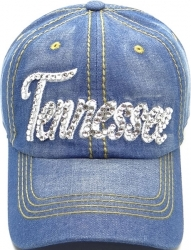 View Buying Options For The Tennessee Rhinestone Bling Text Stitch Denim Ladies Cap