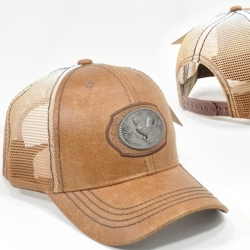 View Buying Options For The Metal Rooster Badge PU Leather Mens Meshback Cap