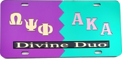View Buying Options For The Omega Psi Phi + Alpha Kappa Alpha Divine Duo Split License Plate