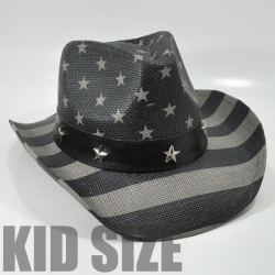 View Buying Options For The USA Flag All Over Wide Band Straw Kids Cowboy Hat