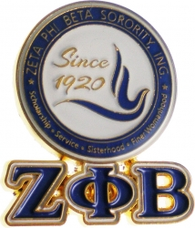 View Buying Options For The Zeta Phi Beta Round Crest Drop Letter Lapel Pin