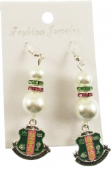 View Buying Options For The Alpha Kappa Alpha Crest Charm Pearl Earrings