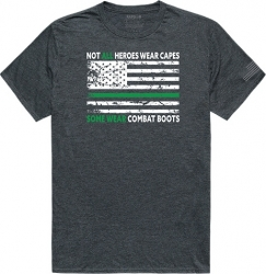 View Buying Options For The RapDom Not All Heroes Wear Capes w/Thin Green Line Tactical Graphics Mens Tee