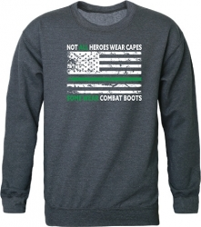 View Buying Options For The RapDom Not All Heroes Wear Capes w/Thin Green Line Graphic Mens Crewneck Sweatshirt Hch