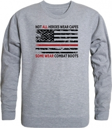 View Buying Options For The RapDom Not All Heroes Wear Capes w/Thin Red Line Graphic Mens Crewneck Sweatshirt