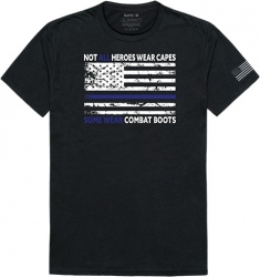 View Buying Options For The RapDom Not All Heroes Wear Capes w/Thin Blue Line Tactical Graphics Mens Tee