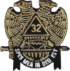 View Buying Options For The Scottish Rite 32nd Degree Wings Down Iron-On Patch