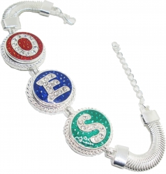 View Buying Options For The Eastern Star Triple Letter Button Bracelet