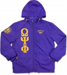 View Product Detials For The Big Boy Omega Psi Phi Divine 9 S6 Hooded Mens Windbreaker Jacket