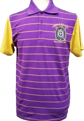 View Buying Options For The Buffalo Dallas Omega Psi Phi Striped Mens Polo Shirt with Contrasting Sleeves