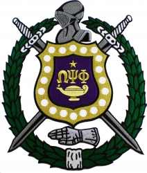 View Buying Options For The Omega Psi Phi Escutcheon Shield Wreath Iron-On Patch