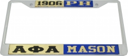 View Buying Options For The Alpha Phi Alpha + Mason P.H. Split License Plate Frame