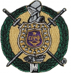 View Product Detials For The Omega Psi Phi Escutcheon Shield Iron-On Patch