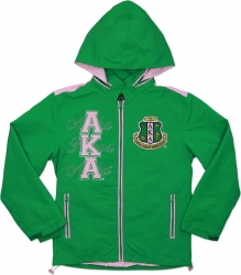 View Buying Options For The Big Boy Alpha Kappa Alpha Divine 9 S6 Hooded Ladies Windbreaker Jacket