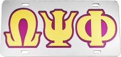View Buying Options For The Omega Psi Phi Outlined Mirror License Plate