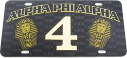 View Buying Options For The Alpha Phi Alpha Printed Graphic Raised Line #4 License Plate